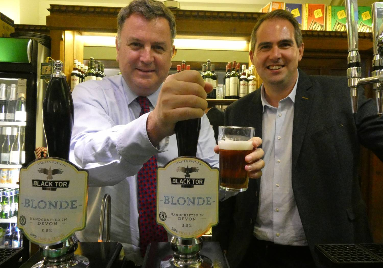 Mel Stride, Mid-Devon MP (left) & Jonathon Crump of Black Tor Brewery (right) pictured in the Strangers' Bar at the House of Commons.